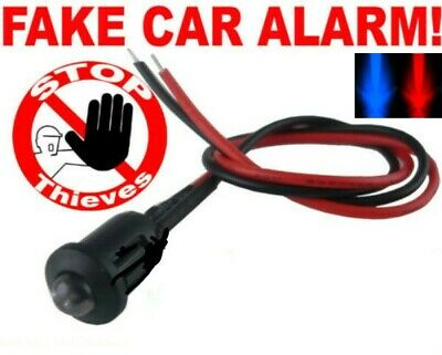 12v Red/Blue Alternate Flashing 5mm Dummy Fake Car Security Alarm Dash Mount LED