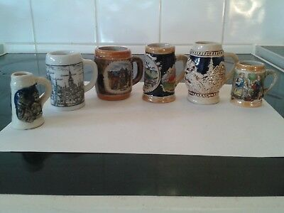 A collection of 6 Miniature Vintage Beer Steins