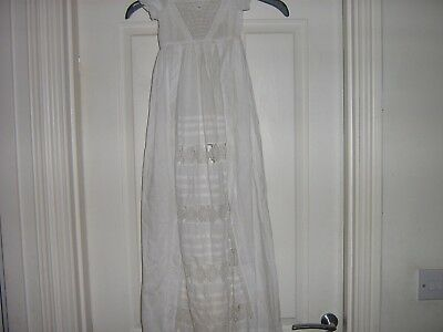 Antique  Christening  Gown   Fine  Cotton  Full Length