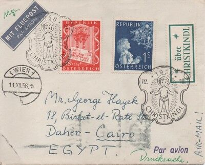 Austria - 1956 Air Mail cover from Vienna to Cairo with Christmas slogan