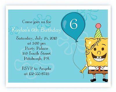 20 Personalized Custom Sponge Bob Birthday Party Invitations