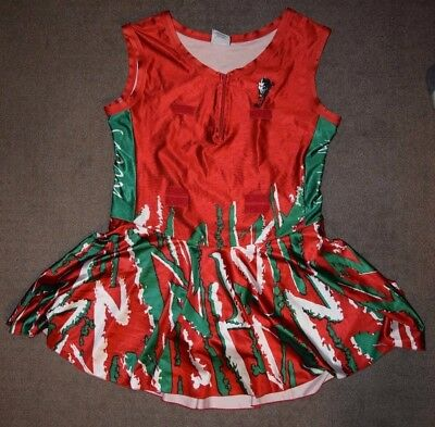 Netball Bodysuit Dress, Size XL-20, Red, Green and White, Woods Panthers