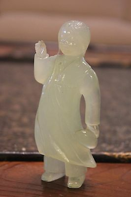 Rare Chinese Cultural Revolution Carved Jade Girl Figurine
