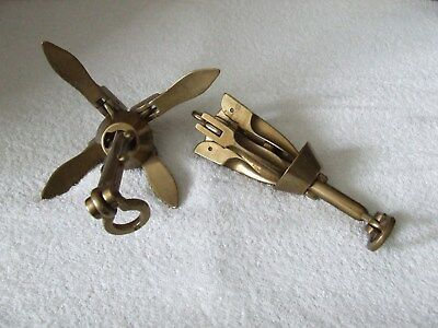 vintage antique x2 heavy brass grappling irons or anchors(millitary,naval)