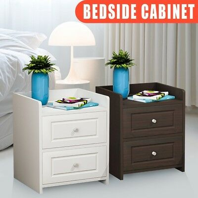 Bedside Table Bedroom Cabinet Organizer Night Stand 2 Drawer Basket Storage UK