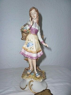 Mariani Italian Capodimonte Porcelain Young Woman With Flower Basket Figurine