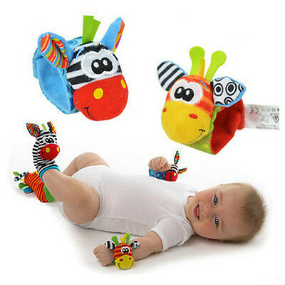 Infant Baby Cute Animal Wrist Foot Sock Rattles Soft Developmental Toys For Kids