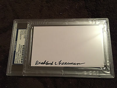 Band of Brothers Signed 3x5 Index Card with Bradford Freeman (PSA Encapsulated)