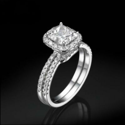 Halo Diamond Ring 3.25 Ct 14 Kt White Gold Earth Mined Si1 Size 4.5 5 6 7 8