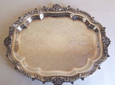 Vintage Silver Plate Oval Ornate Serving Tray