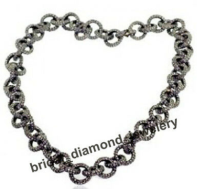 """Victorian Vintage 12.65cts Pave Rose Cut Diamond Silver 16"""" Long Necklace String"""