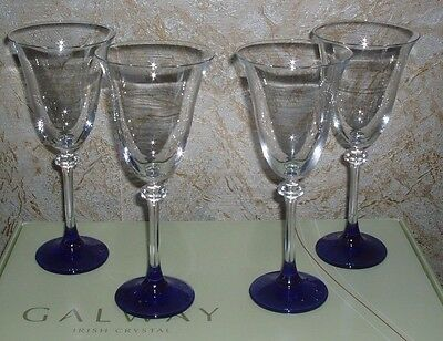 Beautiful Set Of 4 Galway Crystal Wine Glasses Liberty Sapphire Bnib