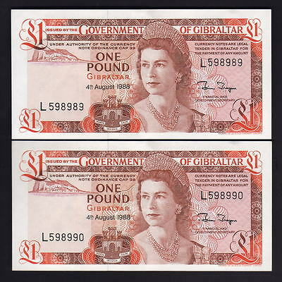 GIBRALTAR  P-20e.  1988 One Pound..  UNC - CONSECUTIVE Pair