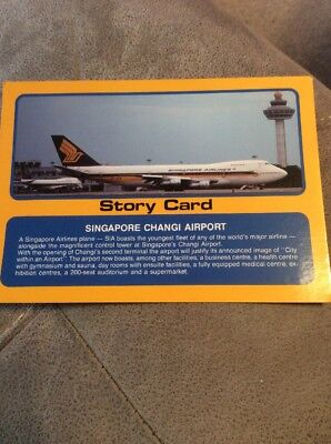 Vintage Singapore Changi International Airport  Postcard