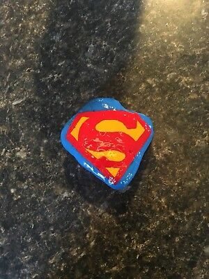 Hand painted stone Superman logo Super Hero Rock Hiding Or Paper Weight