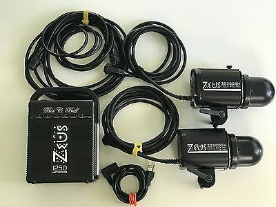 Paul C Buff - Zeus 1250 power pack and two 2500 heads + head extension cable