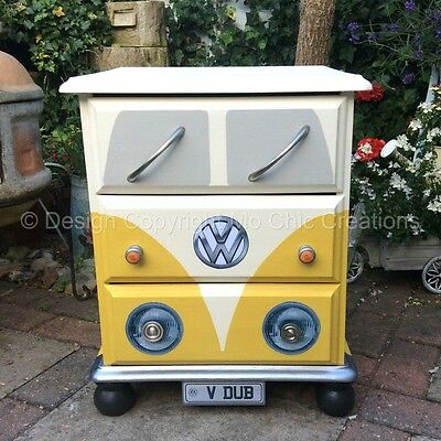 Vintage Retro VW CamperVan Style Pine Chest of Drawers / Bedside Table Yellow