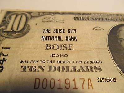 Boise Idaho ID $10 Charter 3471 Nice Very Fine Small Size Note