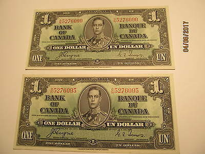 PAIR 1937 One Dollar Notes, Almost in Sequence 5276090 and 5276095 Very Nice