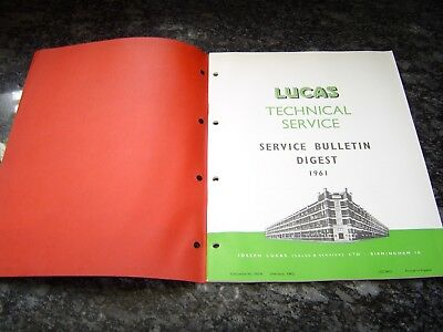 Vintage Lucas Service Bulletin Digest 1961 Manual