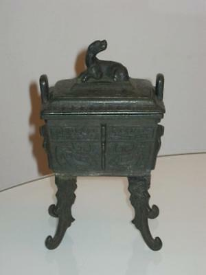 Rare Antique Signed Chinese Bronze Footed Censer