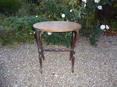 Vintage Retro French Wooden Small Oak Oval Table Arts and Crafts style