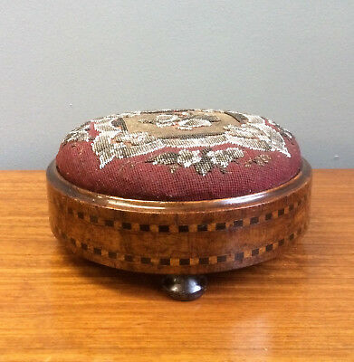 Victorian Antique Walnut & Bead Work Foot Stool, Inlaid With Ebony & Boxwood.