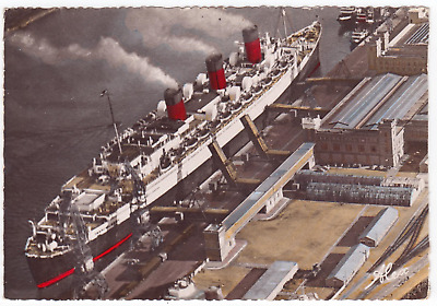 Cunard Line ocean liner steamship RMS Queen Mary @ Cherbourg PC posted 21/08/61