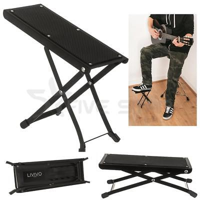 Livivo Adjustable Folding Guitar Foot Stool Metal Rest Acoustic Practice Music