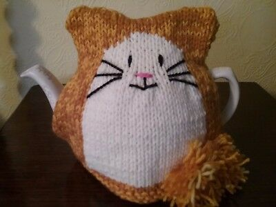 hand knitted marmalade cat tea cosy