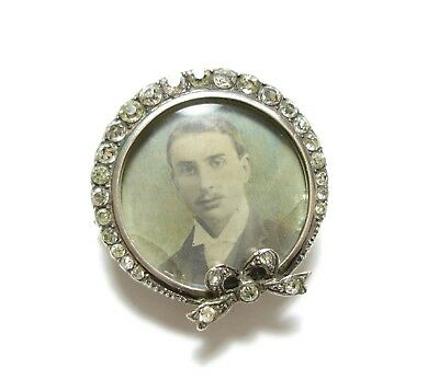 Stunning Old Antique Edwardian Ornate Silver Paste Stone Bow Brooch Pin (D3)
