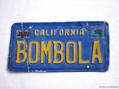 1999 CALIFORNIA Vintage License Plate # BOMBOLA