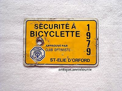 1979 ST-ELIE-D'OXFORD Bicycle License Plate CLUB OPTIMISTE