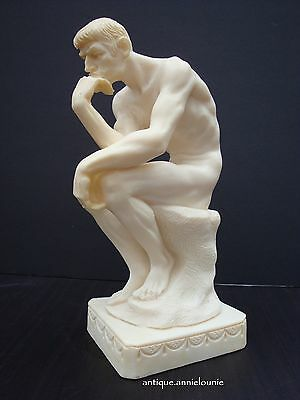 LE PENSEUR/THE THINKER Vintage Replica Alabaster Carved Sculpture Made in Italy