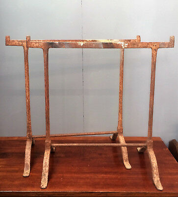 Antique Pair Of Wrought Iron Trestles For Large Table, Vintage Industrial.