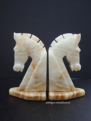 Vintage Horse Head Onyx Marble Carved Stone Bookends