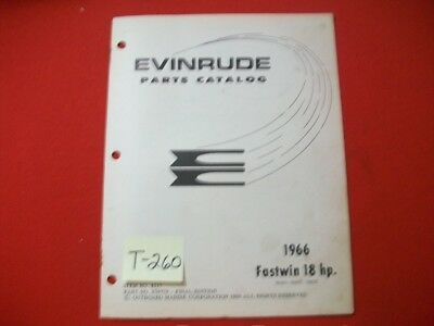 Original Factory 1966 Evinrude Outboard Parts Catalog Fastwin 18 Hp