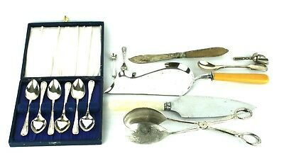 Antique Vintage Silver Plate Job Lot Cutlery Spoons Tongs