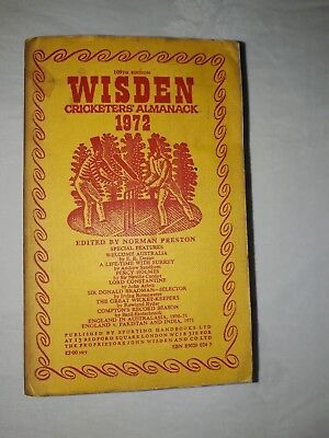 Wisdens Cricketers Almanack 1972 Softback