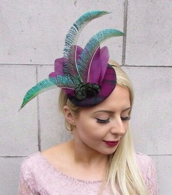 Dark Green Aubergine Purple Tartan Peacock Feather Pillbox Hat Fascinator 4309