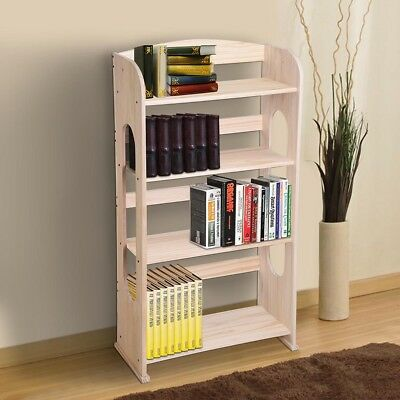 4 Shelf Wood Bookshelf Bookcase Hollow Out Storage Organizer Shelving Home Decor