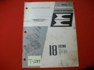 Original Factory 1968 Evinrude Outboard Parts Catalog 18 Hp Fastwin