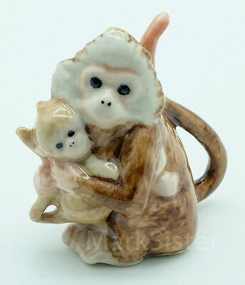 Figurine Animal Miniature Ceramic Statue Mother and Baby Monkey Hugging - CWM016