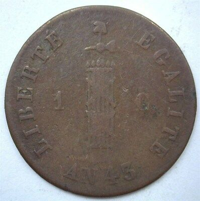 Haiti An 43 (1846) Centime Km#24 Extremely Fine