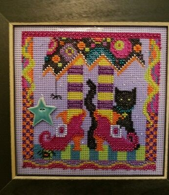Completed Cross Stitch Halloween, Handmade, Witch, Black Cat, Spider Colorful
