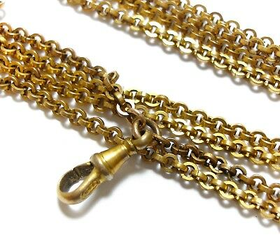 Stunning Old Antique Victorian Long Muff Guard Chain For A Pendant Locket (D12)