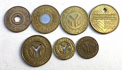 Nyc Subway 7 Various Tokens  - Small Size Solid Y Token - Rare!