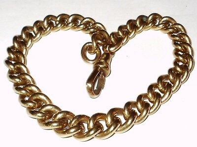 Beautiful Antique Chunky Graduated Curb Bracelet With Dog Clip