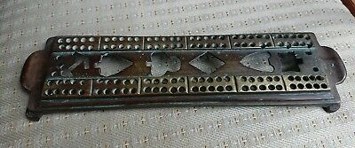 Antique Early Victorian Brass Cribbage Board,crown And Anchor Pub? .unusual.