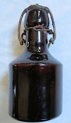 Blob Top Amber Soda/Whiskey Bottle Stubby Squat Short w/Stopper Old Vtg Antique